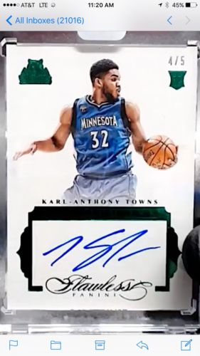 201516 Panini Flawless Karl Anthony Towns Auto 45 Emerald