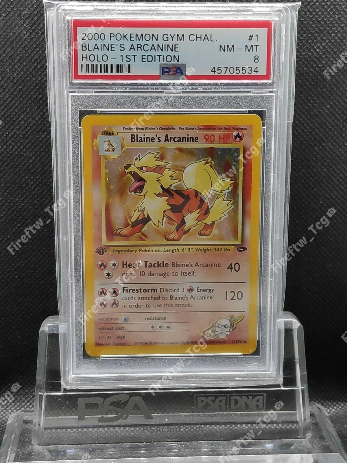 Pokemon Card Gym Challenge 1st Edition PSA 8 MINT Blaines Arcanine Holo 1132