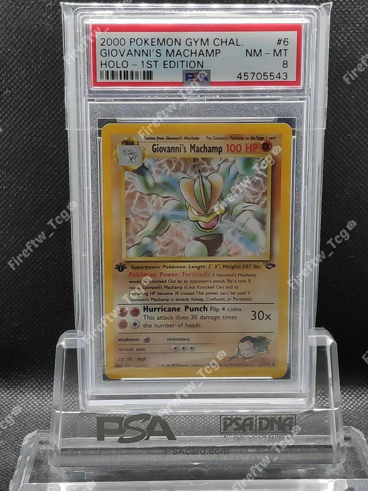 Pokemon Card Gym Challenge 1st Edition PSA 8 MINT Giovannis Machamp Holo 6132