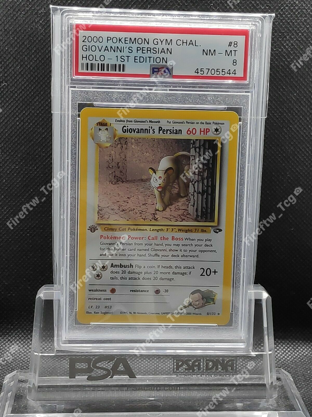 Pokemon Card Gym Challenge 1st Edition PSA 8 MINT Giovannis Persian Holo 8132