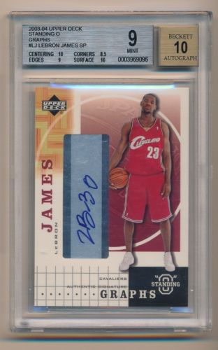 200304 Upper Deck  LEBRON JAMES  Autograph Rookie RC  BGS 910