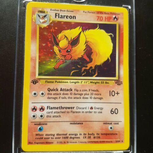 1st Edition Jungle Holo Flareon Pokemon Card Mint Condition Shiny