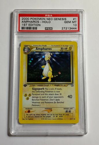 PSA 10 GEM MINT 1st edition Ampharos 1111 Neo Genesis HOLO RARE Pokemon Card