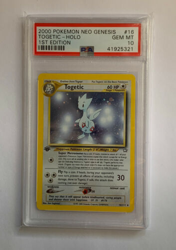 PSA 10 GEM MINT 1st edition Togetic 16111 Neo Genesis HOLO RARE Pokemon Card