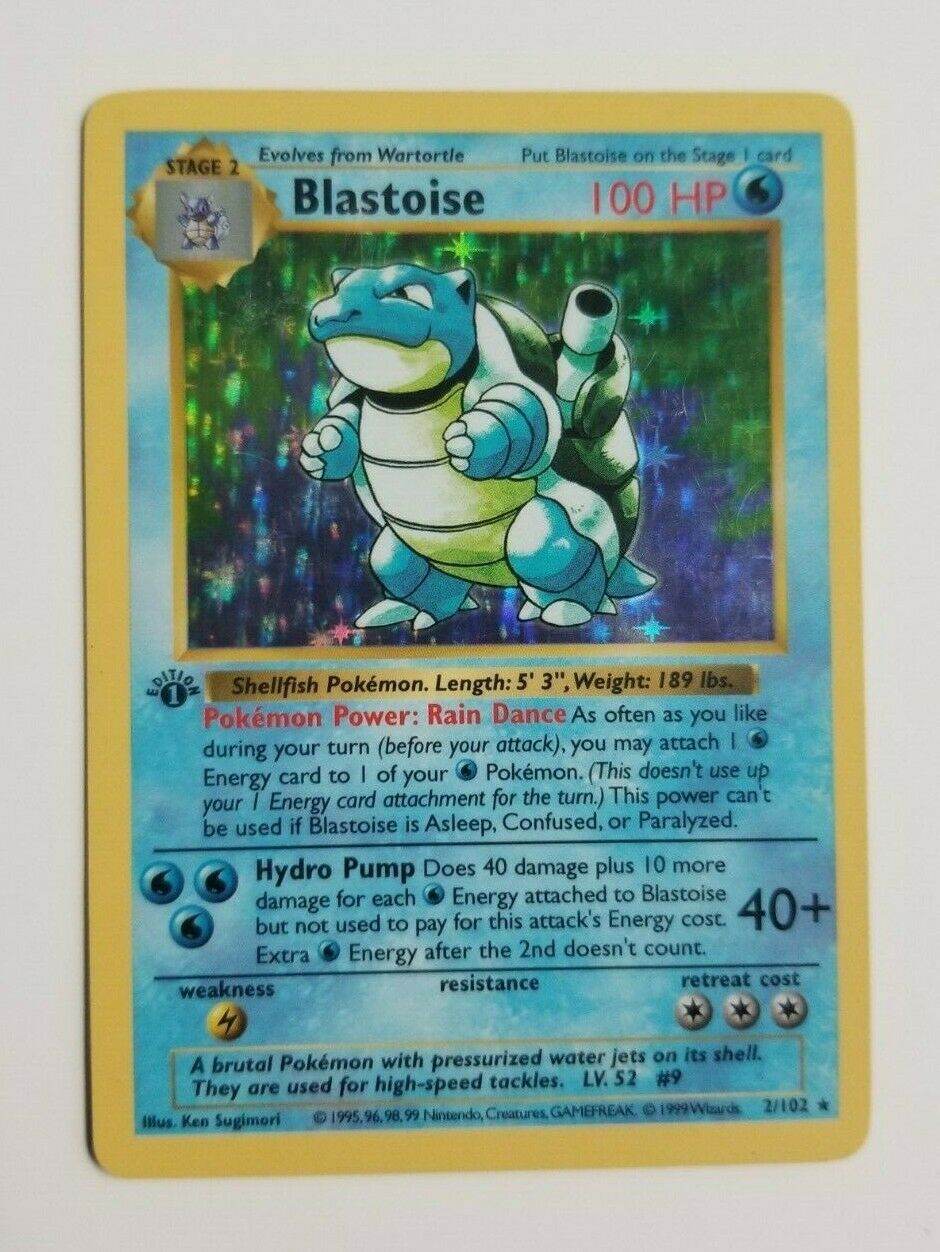 Pokemon Card Blastoise 2102 1st Edition Shadowless Excellent