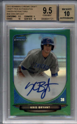 KRIS BRYANT 2013 BOWMAN CHROME GREEN REFRACTOR ROOKIE AUTO 75 BGS 9510 F5630