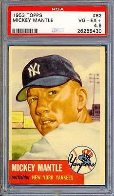 MICKEY MANTLE 1953 TOPPS 82  NEW YORK YANKEES  PSA 45  UNBELIEVABLE