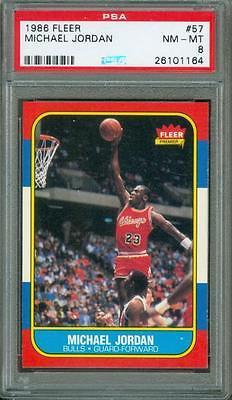 1986 Fleer Michael Jordan 57 PSA 8 Rookie Bulls HOF 5050 Centering Pack Fresh