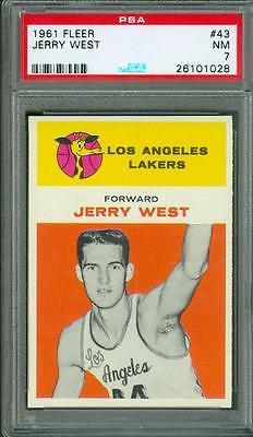 1961 Fleer Jerry West 43 PSA 7 Rookie Lakers HOF Nice Centering Beautiful Color