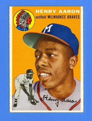 HANK AARON 1954 TOPPS 128  RC  MILWAUKEE BRAVES  UNBELIEVABLE SHARP