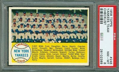 1958 Topps Checklist Yankees Team 246 PSA 8 Only 4 PSA 9 No PSA 10