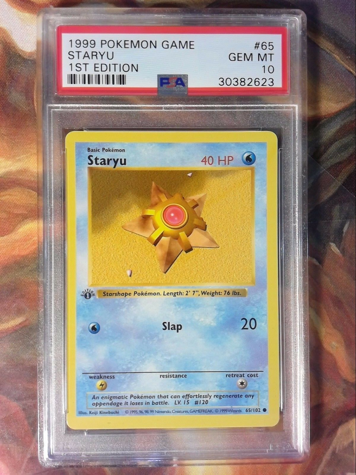 1999 Pokemon Game 65 Staryu 1st Edition Shadowless PSA 10 Gem Mint Card
