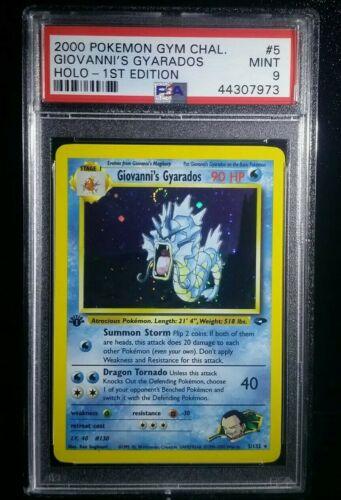 1st Ed Giovannis Gyarados Holo Rare Pokemon Card Gym Challenge PSA 9 MINT