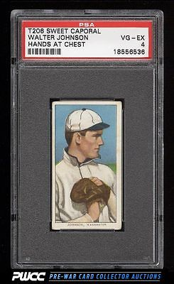 190911 T206 Walter Johnson HANDS AT CHEST PSA 4 VGEX PWCC