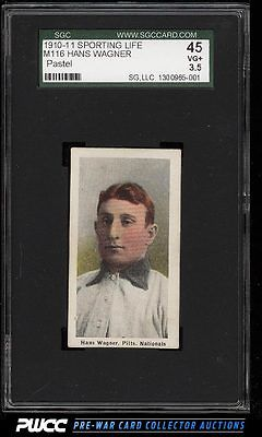 1911 M116 Sporting Life Honus Wagner PASTEL BACKGROUND SGC 3545 VGPWCC
