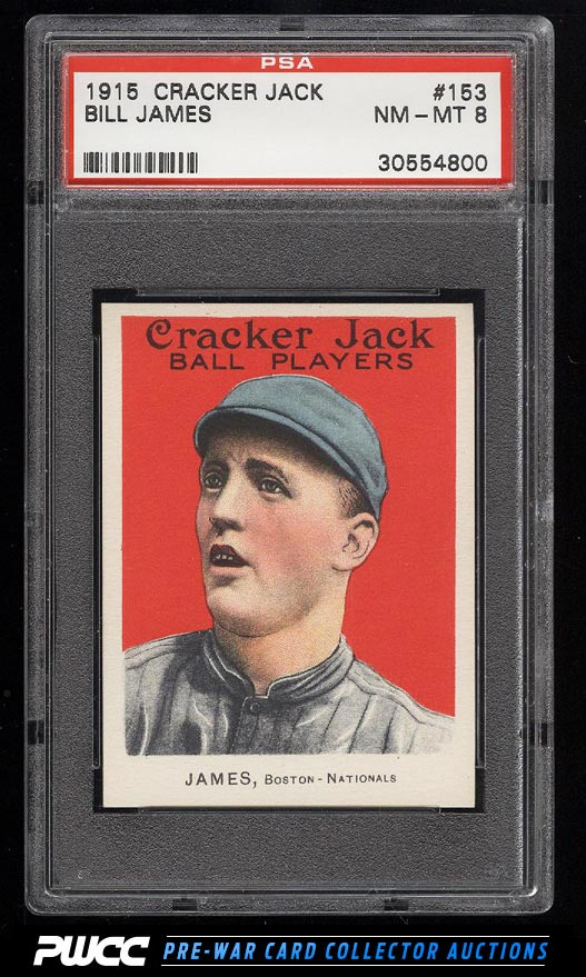 1915 Cracker Jack Bill James 153 PSA 8 NMMT PWCC