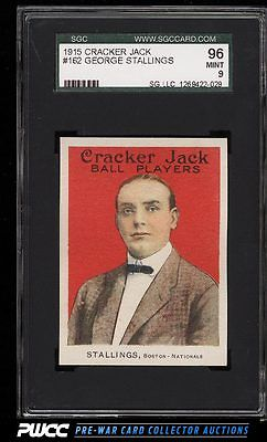 1915 Cracker Jack George Stallings 162 SGC 996 MINT PWCC