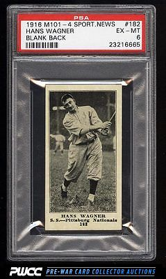 1916 M1014 Sporting News Honus Wagner 182 PSA 6 EXMT PWCC