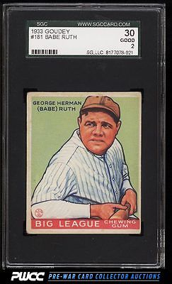 1933 Goudey Babe Ruth 181 SGC 230 GD PWCC
