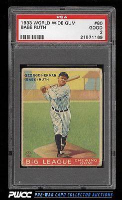 1933 Goudey World Wide Gum Babe Ruth 80 PSA 2 GD PWCC