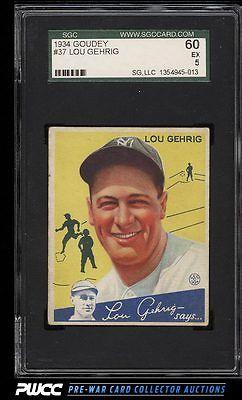 1934 Goudey Lou Gehrig 37 SGC 560 EX PWCC