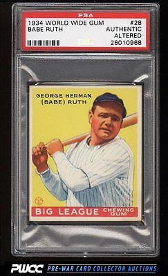 1934 Goudey World Wide Gum Babe Ruth 28 PSA AUTH Altered PWCC