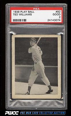 1939 Play Ball Ted Williams ROOKIE RC 92 PSA 2 GD PWCC