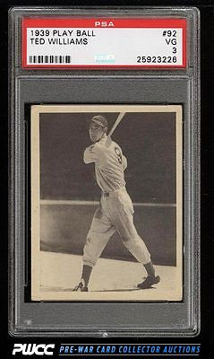 1939 Play Ball Ted Williams ROOKIE RC 92 PSA 3 VG PWCC