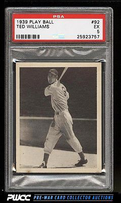 1939 Play Ball Ted Williams ROOKIE RC 92 PSA 5 EX PWCC