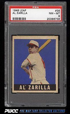 1948 Leaf Al Zarilla SHORT PRINT 36 PSA 8 NMMT PWCC