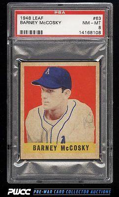 1948 Leaf Barney McCosky SHORT PRINT 63 PSA 8 NMMT PWCC