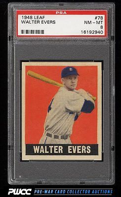 1948 Leaf Walter Hoot Evers SHORT PRINT 78 PSA 8 NMMT PWCC