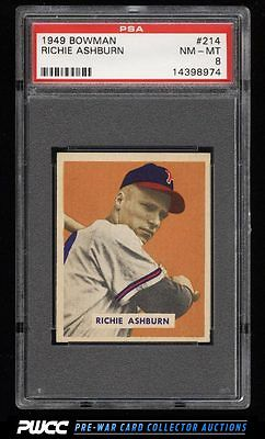 1949 Bowman Richie Ashburn ROOKIE RC 214 PSA 8 NMMT PWCC