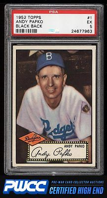 1952 Topps Andy Pafko BLACK BACK 1 PSA 5 EX PWCCHE