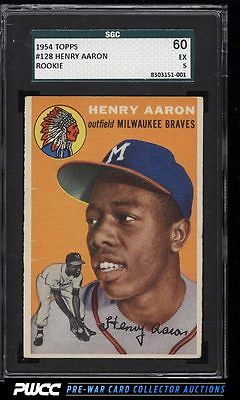 1954 Topps Hank Aaron ROOKIE RC 128 SGC 560 EX PWCC