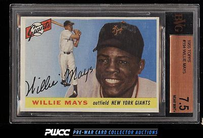 1955 Topps Willie Mays 194 BVG 75 NRMT PWCC