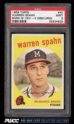 1959 Topps Warren Spahn OBSCURED 40 PSA 9 MINT PWCC