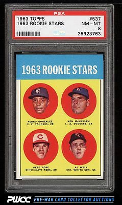 1963 Topps Pete Rose ROOKIE RC 537 PSA 8 NMMT PWCC