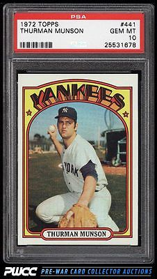 1972 Topps Thurman Munson 441 PSA 10 GEM MINT PWCC