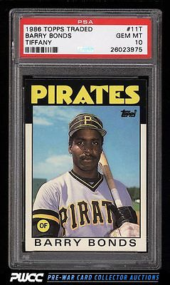 1986 Topps Traded Tiffany Barry Bonds ROOKIE RC 11T PSA 10 GEM MINT PWCC