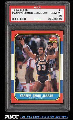 1986 Fleer Basketball Kareem AbdulJabbar 1 PSA 10 GEM MINT PWCC