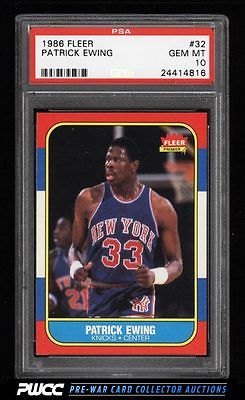 1986 Fleer Basketball Patrick Ewing ROOKIE RC 32 PSA 10 GEM MINT PWCC