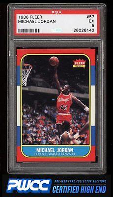 1986 Fleer Basketball Michael Jordan ROOKIE RC 57 PSA 5 EX PWCCHE