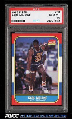 1986 Fleer Basketball Karl Malone ROOKIE RC 68 PSA 10 GEM MINT PWCC