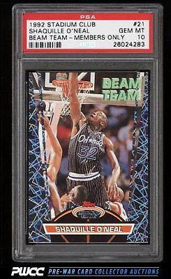 1992 Stadium Club Beam Team Members Only Shaquille ONeal ROOKIE PSA 10 PWCC