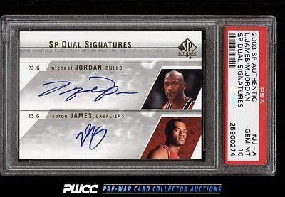 2003 SP Authentic Michael Jordan LeBron James ROOKIE RC AUTO JJA PSA 10 PWCC