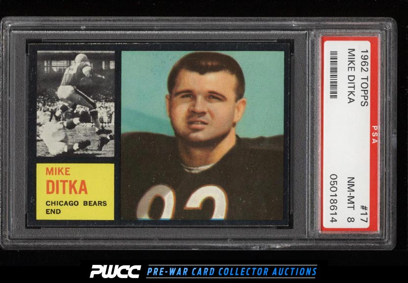 1962 Topps Football Mike Ditka ROOKIE RC 17 PSA 8 NMMT PWCC