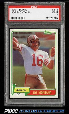 1981 Topps Football Joe Montana ROOKIE RC 216 PSA 9 MINT PWCC