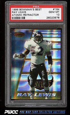 1996 Bowmans Best Atomic Refractor Ray Lewis ROOKIE RC 164 PSA 10 GEM PWCC