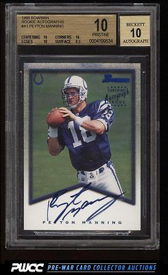 1998 Bowman Certified Blue Peyton Manning ROOKIE AUTO A1 BGS 10 PRISTINE PWCC